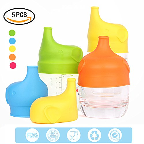 Edelstahl Kleinkind-cup (5er Pack Silikon Schnabeltasse Deckel, mlovesie jedes Cup auslaufsicher Training oder Flasche Deckel, verwandelt jeden Tasse oder Glas zu einer Schnabeltasse, BPA-frei, auslaufsicher für Babys Kleinkinder und Kinder)