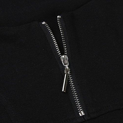 ❤️Manadlian Chemisier Blouse Femme Ete 2018,Débardeur Femme Sport Court Zipper Crop Tops T-Shirt sans Manches Grande Taille Noir