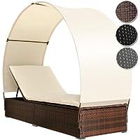 MIADOMODO Polyrattan Sonnenliege Für 1 Person Inkl. Kissen Und Sitzauflage  Mit Rückenlehnen Und Sonnendach,