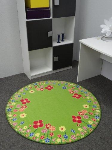 Kinderteppich Blumenwiese 200 cm rund (Runde Blume Teppich)