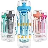 Bonke Trinkflasche für Fruchtschorlen - Große 1 Liter BPA-Freie Sportflasche – Wasserflasche mit Gummigriff und Extra sicherem Verschlusssystem – 1 Jahr Garantie (Blue)