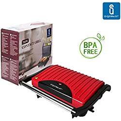 Aigostar Warme 30HHH – Grill, parrilla, sandwichera y máquina de panini 700 W de potencia, asa de toque frío, placas antiadherentes. Libre de BPA, color rojo y negro. Diseño exclusivo.