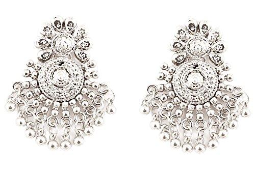 Touchstone orecchini pendenti con design bohemien bollywood indiano in argento ossidato per donna tono argento