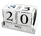 Dauerkalender Würfel im Antik Stil weiß Stehkalender im Shabby Look Kalender für Ihren Schreibtisch