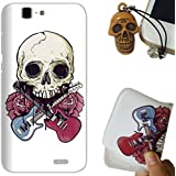 Rockconcept Huawei Ascend G7 Funda, Serie del cráneo Diseño [Con Gratis Tapón de Polvo] Protectiva Carcasa de Silicona Gel TPU Funda Cover Carcasa Case Cover para Huawei Ascend G7 (Cráneo Rose)