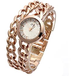 Sheli Ladies Casual Rose Gold Tone Stainless Steel Timepiece with Luminous Hands, 30mm