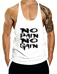 YeeHoo Hombres Culturismo Camisetas de Tirantes Deportivo Fitness Gimnasio  Chaleco Texto NO Pain NO Gain 7a04914f58e
