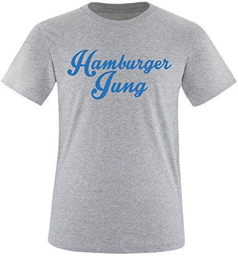 EZYshirt® Hamburger Jung Herren Rundhals T-Shirt Grau/Blau