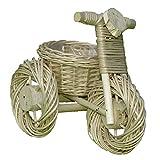 Deko-Dreirad, Pflanzschale, Dreirad aus Weide geflochten - weiß - 34 x 22 cm