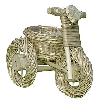 Deko-Dreirad, Pflanzschale, Dreirad aus Weide geflochten – weiß – 34 x 22 cm