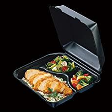 Total Home Black Color 3 Compartment Medium Snap It Foam Hinged Lid Dinner Container 100-Pack