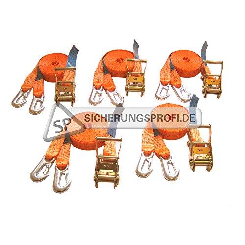 5 Stück im Set! Spanngurt 2-teilig mit Ratsche und Karabinerhaken, 2.000 daN, 35 mm, 6 m: Ratschenteil 0,50 m und Losende 5,50 m