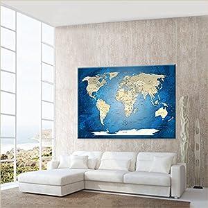 LanaKK mapamundi con Corcho para Fijar los destinos – Lámina sobre Bastidor Camilla en Azul, Enmarcado en una Parte, 120 x 80 cm, español