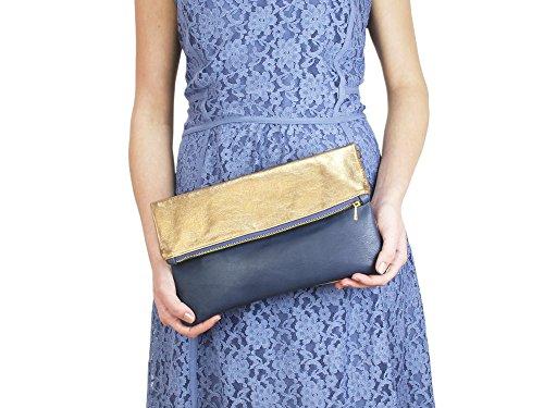 lille mus Damen Foldover-Tasche Finja mit Umhängekette, aus Leder Gold/Blau
