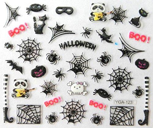 Générique Nail Art Autocollants Stickers Ongles: Décorations Halloween Pandas Rock araignées