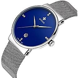 wwoor Herren 's Ultra dünnes Mesh-Band Edelstahl Uhren Männlich Elite Sport Datum Armbanduhr Blau