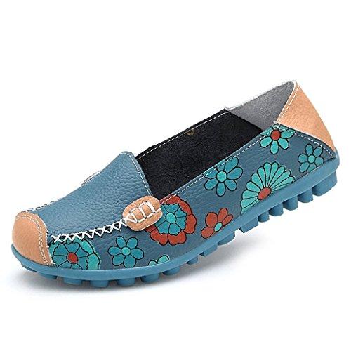Bild von Oriskey Damen Mokassin Bootsschuhe Leder Loafers Schuhe Flache Fahren Halbschuhe Slippers