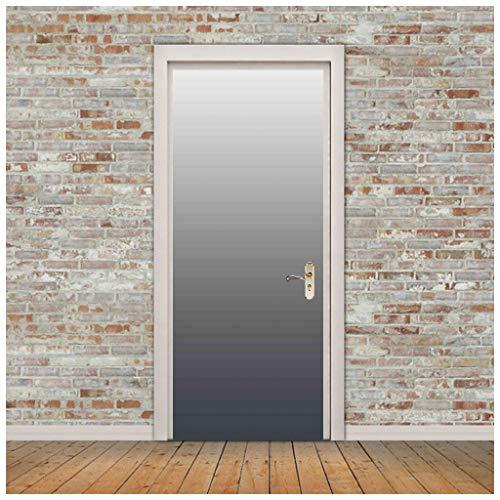 ZHANGDONGLAI Türaufkleber Schwarz-Weiß-Farbverlauf Tür Dekorfolie Selbstklebendes Papier Kreatives Selbstklebendes Papier 77 * 200CM