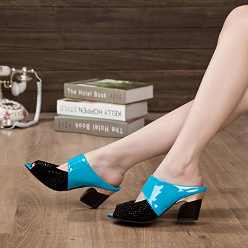 Webla Damen Sandalen Strass Thick Mid Heel Open Toe Farbe Block Dekoration Sandalen T-Spangen Sandalen Mode Sandalen Frauen Pumps High Heels Schuhe Damen Schuhe Blau