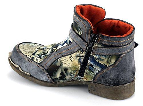 TMA Damen Echtleder Stiefeletten Boots Leder Damenschuhe 5191 Schwarz