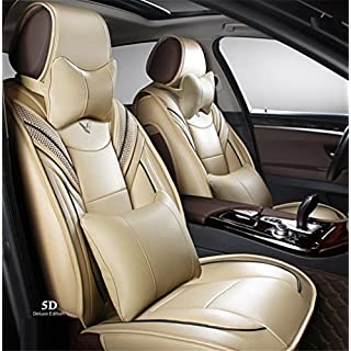 AMYMGLL Fünf Universal Leder Auto Kissen Luxus Sitzbezug 360 ° Full Surround Fit-Modell (Audi A3 a4l a6l Q3 Q5 A5), d