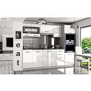 Justyou paula pro küchenzeile küchenblock küche 240 cm farbe weiß hochglanz