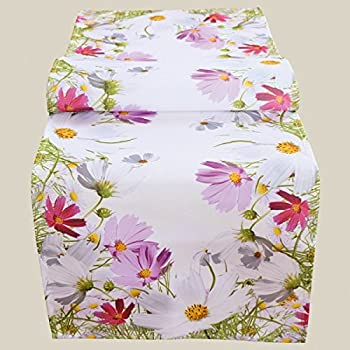 etérea Baumwolle Tischläufer Blumen Weiß 40x140 cm