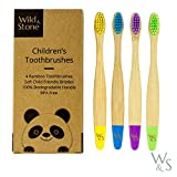 Organic Children's Bamboo Toothbrush | Four Colour | Soft Fibre Bristles | 100% Biodegradable Handle | BPA Free | Vegan Eco Friendly Kids Toothbrushes by Wild & Stone