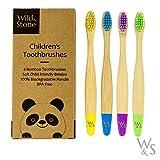 Brosse à dents en bambou pour enfants organique | Quatre couleurs | Soies de fibres douces | Poignée 100% biodégradable | Brosses à dents écologiques Vegan de Wild & Stone