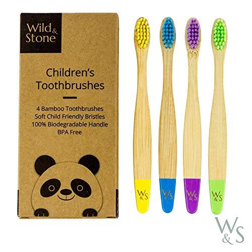 Cepillo de dientes de bambú orgánico para niños | Cuatro colores | Cerdas firmes de fibra de carbono | Mango 100{dcd4e5e765a96579a196d501a45571e71b9f08107a64464d752b3d762819fb2a} biodegradable | Cepillos de dientes veganos orgánicos | de Wild & Stone