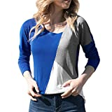 Blouse Femme Chic,Binggong T-Shirt Femme Manches Longues Casual Lâche Rayures Tricot Blouse Pull Tunique Automne Hiver Col Rond Manches Longues Jointif Couleur Tops - Sweatshirt Blouse