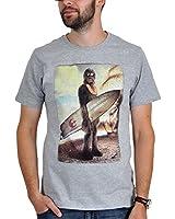 Star wars t-shirt de fan pour homme chewbacca-wookiee on the beach gris et blanc
