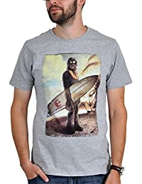 Star Wars Herren Fan T-Shirt Chewbacca - Wookiee on the beach in Grau und Weiß