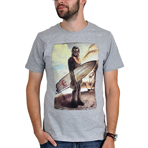 Star Wars Wookiee Chewbacca Surfer T-Shirt mit Star Wars Logopatch grau - XL (Star Wars Shirt)