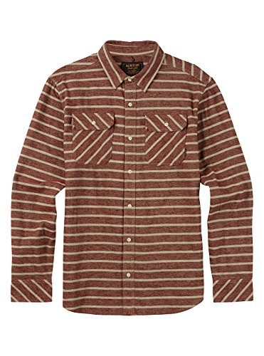 Burton Herren Brighton Long Sleeve Woven Top, Rojo Dock Stripe, S (Long Shirt Stripe Woven Sleeve)