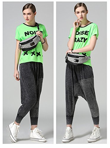JOTHIN Damen Mode Sportgürteltasche Fitnesstasche Spleißen Loge Laufgürtel Blumenmuster Grau