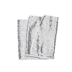 Idea Regalo - Meijuner Premium paillettes Runner Beautiful Sparkle tessuto per la festa Festa di Natale della decorazione della casa festa di nozze decorazioni 4 colori 30cm*180cm (argento)