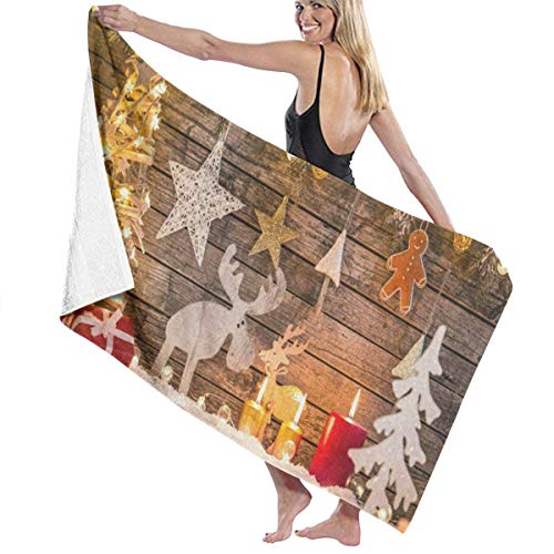 xcvgcxcvasda Serviette de bain, Christmas Deer Tree Star Snow Personalized Custom Women Men Quick Dry Lightweight Beach & Bath Blanket Great for Beach Trips, Pool, Swimming and Camping 31