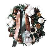 L&Z Baumwolle Künstliche Weihnachtskranz mit Blume beschneiten Tannenzapfen & Schleifen - Drinnen & Draußen Weihnachtsdeko, Weihnachten Ornamente zum Aufhängen an Türen, Wänden & Treppen Hochzeit