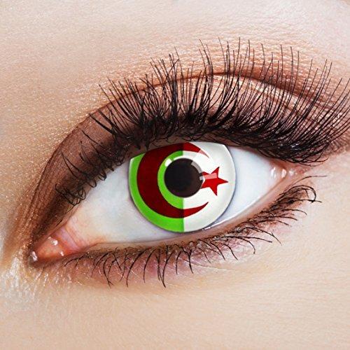 aricona Farblinsen Farbige Kontaktlinse Flagge Les Fennecs   – Deckende Jahreslinsen für dunkle und helle Augenfarben ohne Stärke, Farblinsen für Karneval, Fasching, Motto-Partys und Halloween Kostüme
