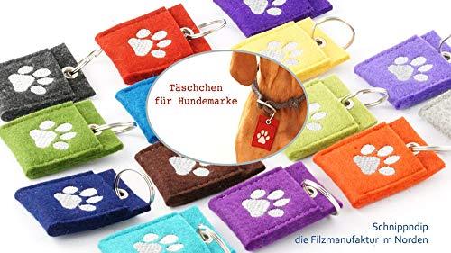 Täschchen, Tasche, Hülle, Etui, Halsbandtasche, Anhänger für Hundemarke, Steuermarke, Tassomarke, Wollfilz, schmutzabweisend, robust, langlebig, bestickt mit einer Pfote oder einem Motiv Deiner Wahl