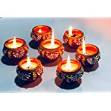 Pack Of 7 Diwali Candles Set | Homeart Decorated Diya For Diwali | Candle Diya For Puja | Diya For Pooja | Diwali Home Decoration Light | Matki Diya For Diwali Decoration | Diwali Decor By Home Art