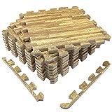 UMI. Essentials 1\' x 1\' Extra Thick Foam Interlocking Floor Tiles (Set of 9, Wood Grain) …