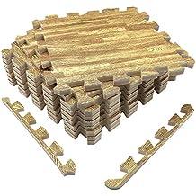 UMI. Essentials 1' x 1' Extra Thick Foam Interlocking Floor Tiles (Set of 9, Wood Grain)