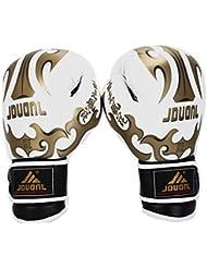 JDUANL Gants de boxe Gants de Sac - Gants Poinçonnage de Sac - Gloves Pro pour entraînement compétition de Boxing Muay Thai Kickboxing - Adulte Mixe - Blanc Dragon