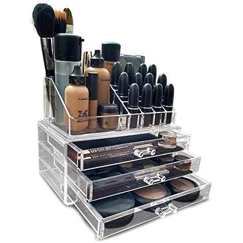 acrílico Transparente maquillaje / Cosmético / Joyería / Esmalte De Uñas Organizador Soporte Expositor (con alta calidad 3mm acrílico). En Caja De Regalo