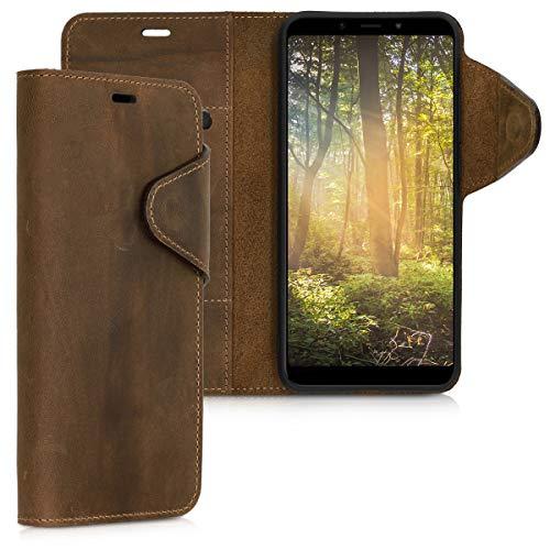 kalibri Xiaomi Mi 6X / Mi A2 Hülle - Leder Handyhülle für Xiaomi Mi 6X / Mi A2 - Handy Wallet Case Cover