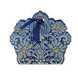 BUONDAC 50stk Bonboniere & 50stk Satinbänder Gastgeschenk Hochzeit Taufe Gastgeschenke Box Geschenkbox klein für Süßigkeiten Geschenkschachtel Pralinenschachtel leer (Blau) - 5
