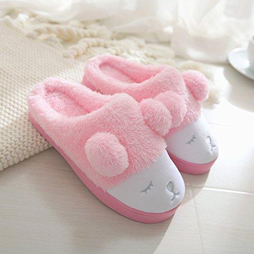 spesse home donne pantofole Meng trascinare Inverno cotone pantofole caldo con uomini e indoor rosa di DogHaccd inverno giovane di carino di pantofole PHT4tWPn