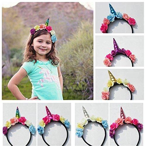 (Gluckliy Blumen Einhorn Horn Stirnband Haarband Party Haar Zubehör Kostüm Fancy Dress Cosplay Dekorativ (Bunt))